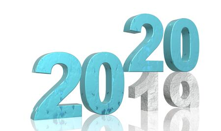 3D Render zum Jahreswechsel 2019 bis 2020 in türkis und weiß strukturierten Zahlen vor weißem, abstraktem Hintergrund