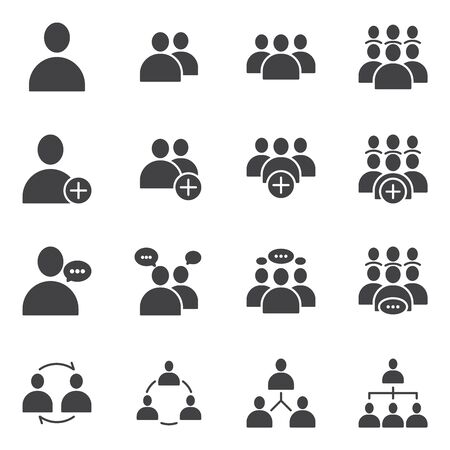 Simple Set of Business People Related Vector flat Glyph solid Icons. Contains such as Meeting, Business Communication, Teamwork, connection, speaking and more Ilustracje wektorowe