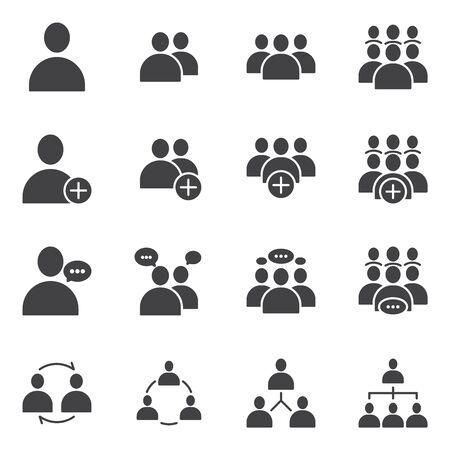 Conjunto simple de iconos sólidos de glifos planos vectoriales relacionados con personas de negocios. Contiene reuniones, comunicación empresarial, trabajo en equipo, conexión, conversación y más. Ilustración de vector