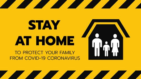 Vector of Shelter in Place or Family Stay at Home or Self Quarantine Yellow Background Sign with Tape. To Control Coronavirus or Covid 19 Spreading Infection by Government Policy. 16:9 Ratio.