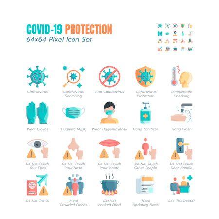 Conjunto simple de iconos planos de protección Covid-19. Iconos como orientación, medidas de protección, prevención del coronavirus, atención sanitaria higiénica, solución, concienciación, lavado de manos, uso de mascarilla, etc. 64x64 píxeles