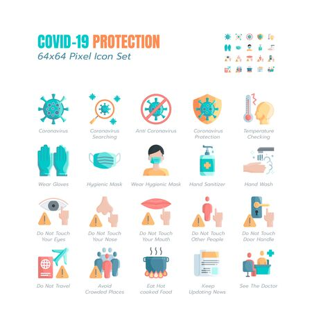 Simple Set of Covid-19 Protection Flat Icons. Icons as Guidance Protective Measures, Coronavirus Prevention, Hygienic Healthcare, Solution, Awareness, Hands Wash, Wear Face Mask etc. 64x64 Pixel