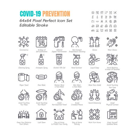 Simple Set of Coronavirus Prevention COVID-19 Line Icons. such Icons as Gloves, Mask, Social Distancing, Stay Home, Quarantine, Avoid Close Contact 64x64 Pixel Perfect Editable Stroke. Vector. Vecteurs