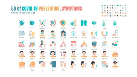 Simple Set of Covid-19 Prevention Flat Icons. such Icons as Protective Measures, Coronavirus, Hygienic Healthcare, Social Distancing, Hands Washing, Symptoms, Quarantine, Stay at Home. 64x64 Pixel. Vetores