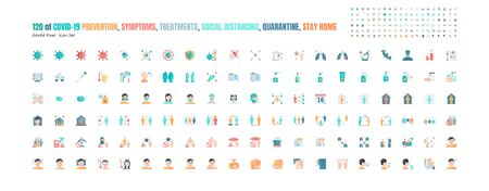 Simple Set of Covid-19 Prevention Flat Icons. such Icons as Protective Measures, Coronavirus, Hygienic Healthcare, Social Distancing, Hands Washing, Symptoms, Quarantine, Stay at Home. 64x64 Pixel. Ilustración de vector