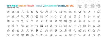 Conjunto simple de iconos de contorno de línea de prevención de Covid-19. iconos como medidas de protección, coronavirus, distanciamiento social, síntomas, cuarentena, quedarse en casa. 64x64 píxeles perfectos. Trazo editable. Ilustración de vector
