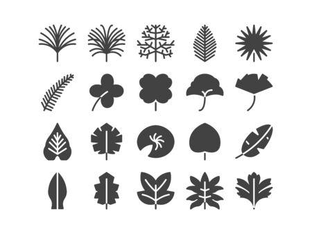Leaf Solid Glyph Icon Set Spring Concept Minimal Style Illustration