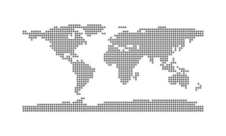 Abstract world Map with Square Pixel Dots Spot Modern Tecnology Concept Design Isolated on White background Vector illustration. Good for Coronavirus disease Infection Explaination using. Vettoriali