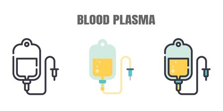 Blood Plasma is being Sought from Recovered Covid-19 Patients. Research to the Coronavirus Disease 2019 Infection Treatments. Line outline, Flat, Filled Icons set. Editable Stroke.