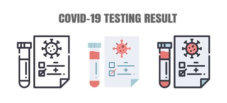 Testing Result of Covid-19 Patients is Negative or Positve. The Coronavirus Disease 2019 Infection Treatments. Line outline, Flat, Filled Icons Set. Editable Stroke. Vettoriali