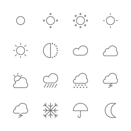 Simple Set of Weather and Climate Forecast Related Vector thin line Icons. Contains such as rainy, sunny, snowy, cloudy, day, night, hot, cold, sun, moon, umbrella and more. isolated illustration