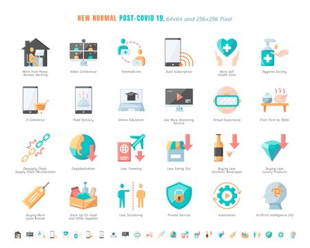 Simple Set of New Normal After Coronavirus 2019 or Covid-19 Ends Related. Such as Work from Home, Streaming, Online Shopping, Supply Recalibration. Flat Color Design Icons Vector. 64x64 Pixel. Illustration