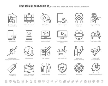 Simple Set of New Normal After Coronavirus 2019 or Covid-19 Ends Related. Such as Streaming, Online Shopping, Supply Recalibration. Line Outline Icons Vector. 64x64 Pixel Perfect. Editable Stroke. Illustration