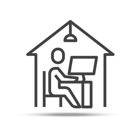 Work From Home, Line Outline Single Icon. Editable Stroke. Vector Illustration