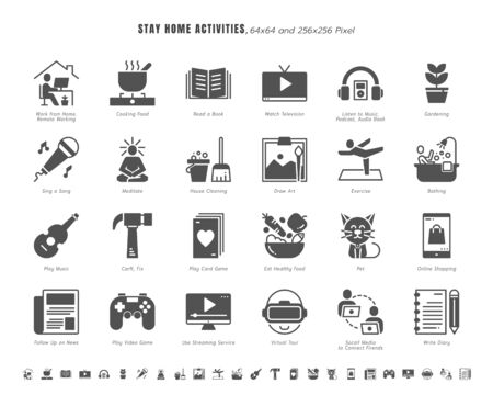 Simple Set of Stay Home Activities for Mental Health During Coronavirus, Covid-19 Crisis Related. Such as News Update, Cooking, Game, Work, Social Media. Solid Glyph Icons Vector. 64x64 Pixel.