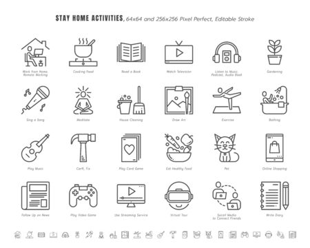 Simple Set of Stay Home Activities for Mental Health During Coronavirus, Covid-19 Crisis Related. Such as News Update, Cooking, Game. Line Outline Icons Vector. 64x64 Pixel Perfect. Editable Stroke.