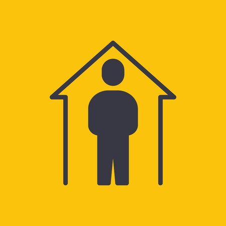 Stay Home Stay safe. Yellow Caution Sign. Coronavirus Disease 2019 Covid-19 Prevention, New Normal Concept. Solid Glyph Icon. Symbol Vector Illustration