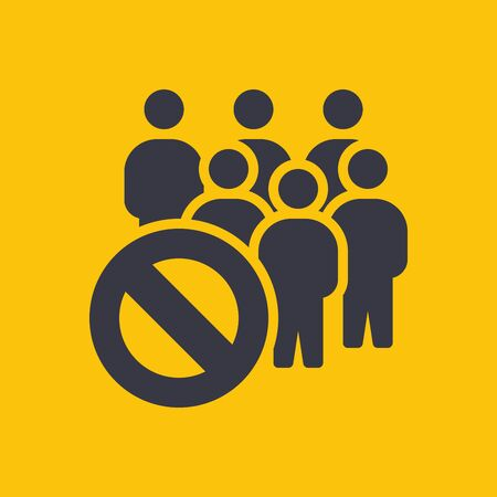 Social Distancing. Yellow Caution Sign. Coronavirus Disease 2019 Covid-19 Prevention, New Normal Concept. Solid Glyph Icon. Symbol Vector Illustration Illustration