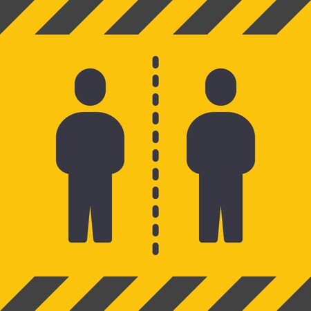 Social Distancing. Yellow Caution Sign With Euro Tape. Coronavirus Disease 2019 Covid-19 Prevention, New Normal Concept. Solid Glyph Icon. Symbol Vector Illustration