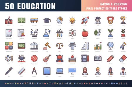 Vector of 50 Education and School Subject. Filled Gradient Color Line Outline Icon Set. 64x64 and 256x256 Pixel Perfect Editable Stroke. Vector. 矢量图像