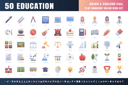 Vector of 50 Education and School Subject. Flat Gradient Color Icon Set. 64x64 and 256x256 Pixel. Vector. 矢量图像
