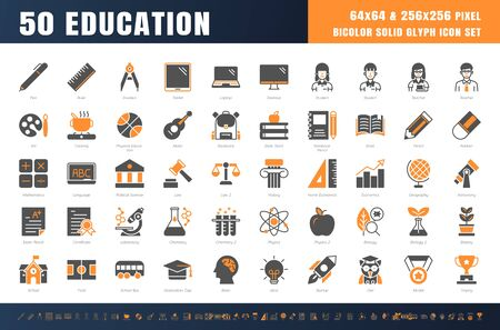 Vector of 50 Education and School Subject. Bicolor Solid Glyph Icon Set. 64x64 and 256x256 Pixel Perfect Editable Stroke. Vector.