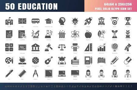 Vector of 50 Education and School Subject solid Glyph Icon Set. 64x64 and 256x256 Pixel.