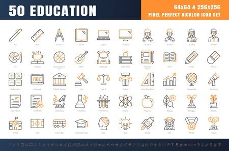 Vector of 50 Education and School Subject. Bicolor Line Outline Icon Set. 64x64 and 256x256 Pixel Perfect Editable Stroke. Vector. Çizim