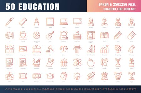 Vector of 50 Education and School Subject. Gradient Line Outline Icon Set. 64x64 and 256x256 Pixel Perfect. Expanded Stroke. Vector.