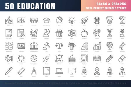 Vector of 50 Education and School Subject Line Outline Icon Set. 64x64 and 256x256 Pixel Perfect Editable Stroke. Vector.