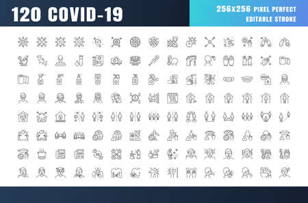 Covid-19 Prevention Line Outline Icons. Coronavirus, Social Distancing, Quarantine, Stay Home. 256x256 Pixel Perfect. Editable Stroke. Stockfoto - 150710177