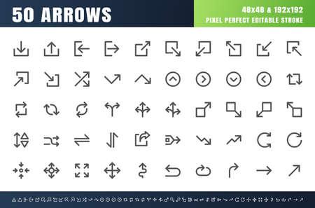 50 Arrows Bold Outline Icon Set. 48x48 Pixel Perfect Editable Stroke. 4 px Stroke Width Line Vector.