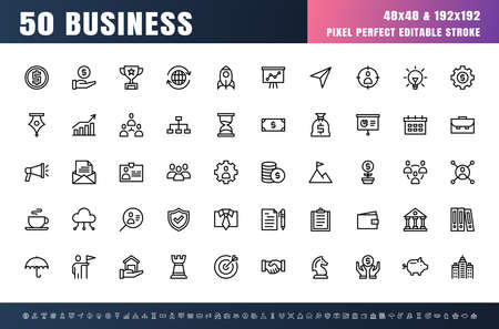 Vector of 50 Business Line Outline Icon Set. 48x48 Pixel Perfect Editable Stroke.