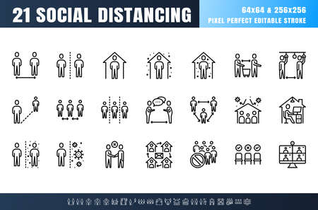 Vector of 21 Social Distancing, Coronavirus Disease 2019 Covid-19 Line Outline Icon Set. Stay Home, Work from Home. 64x64 Pixel Perfect Editable Stroke. 矢量图像