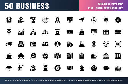 Vector of 50 Business Solid Glyph Icon Set. 48x48 Pixel. 矢量图像