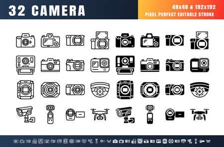 Bundle Vector of 32 Camera Line Outline and Solid Glyph Details Icon Set. 48x48 Pixel Perfect Editable Stroke. Ilustração