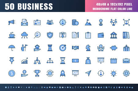 Vector of 50 Business and Financial Solid Monochrome Flat Color Line Icon Set. 48x48 and 192x192 Pixel Perfect. Ilustração