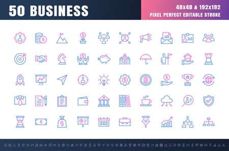 Vector of 50 Business and Financial Bicolor Line Outline Icon Set. 48x48 Pixel Perfect Editable Stroke. Ilustração