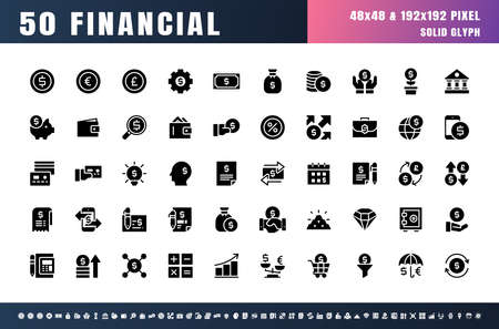 Vector of 50 Currency FInancial Balck  Solid Glyph Icon Set. 48x48 Pixel Perfect.