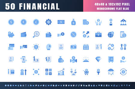 Vector of 50 Currency FInancial Monochrome Flat Blue Icon Set. 48x48 Pixel Perfect. 矢量图像