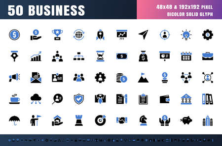 Vector of 50 Business and Financial Bicolor Blue and Black solid glyph Icon Set. 48x48 Pixel Perfect. Ilustração