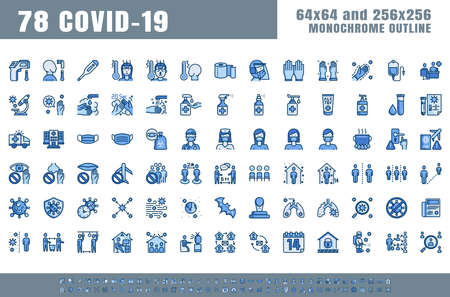 Vector of 78 Covid-19 Prevention Monochrome Flat Blue Filled Line Outline Icons. Coronavirus, Social Distancing, Quarantine, Stay Home. 64x64 Pixel Perfect. Expanded Stroke. 矢量图像