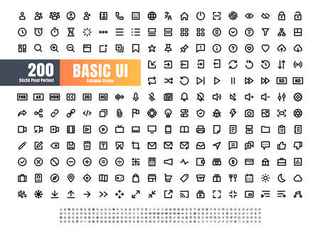 24x24 Pixel Perfect Basic User Interface Essential Set. 200 Line Outline Icons. For App, Web, Print. Editable Stroke