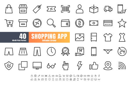 48x48 Pixel Perfect of Ecommerce Online Shopping App User Interface. Such as Shop, Warrnaty, Clothing, Cart, Delivery, Price Tag, E-Wallet. Thin Line Outline Icons Vector. Editable Stroke. 矢量图像