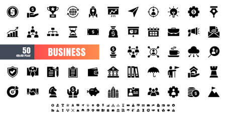 Vector of 50 Business and Financial Solid Glyph Icon Set. 48x48 Pixel.