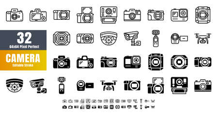 Bundle Vector of 32 Camera Line Outline and Solid Glyph Details Icon Set. 48x48 Pixel Perfect Editable Stroke. 矢量图像