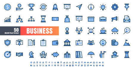 Vector of 50 Business and Financial Solid Monochrome Flat Color Line Icon Set. 48x48 and 192x192 Pixel Perfect. Иллюстрация