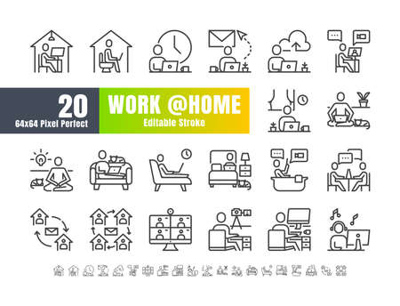 Simple Set of Stay and Work from Home in Coronavirus 2019 or Covid-19 Crisis. Such as Working in Living Room, Bedroom, Bathroom. Thin Line Outline Icons Vector. 64x64 Pixel Perfect. Editable Stroke. Иллюстрация