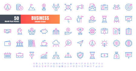 Vector of 50 Business and Financial Bicolor Line Outline Icon Set. 48x48 Pixel Perfect Editable Stroke. Иллюстрация
