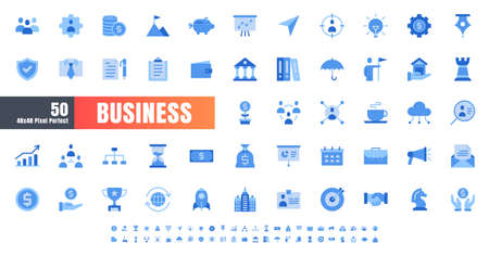 Vector of 50 Business and Financial Solid Monochrome Flat Color Icon Set. 48x48 and 192x192 Pixel.